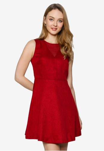 Saturday Club red Mesh-Trimmed A-line Dress F93AAAA1A8A3AEGS_1