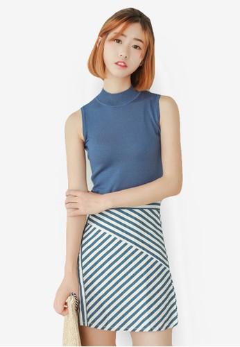 無袖上衣條紋短裙組, esprit官網服飾, 裙子