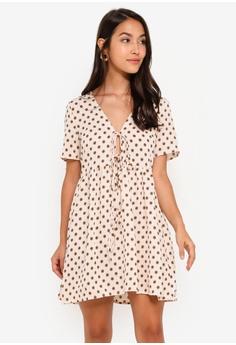 4717e59b8a14 Glamorous beige Cream Floral Dot Woven Dress C5BCDAA4E9E0FEGS_1