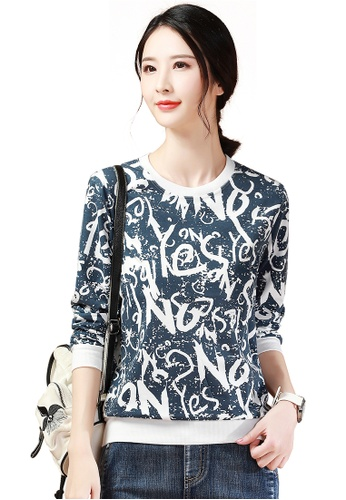 A-IN GIRLS white and navy Fashion Print Round Neck T-Shirt 33131AAC9342F5GS_1