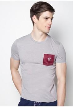 Men's Pique Crew Neck T-Shirt with Contrast Pocket