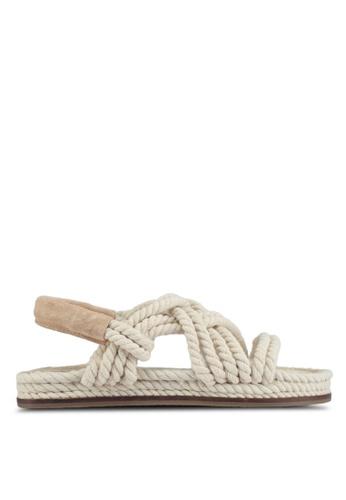 TOPSHOP beige Fiesta Flat Rope Sandals B0AE8SH05142B7GS_1