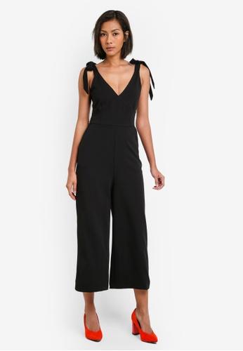WAREHOUSE black Crepe Tie Shoulder Jumpsuit WA653AA0S7CYMY_1