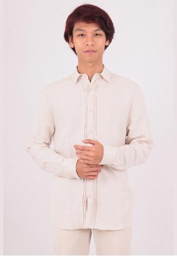 East India Company brown Anil Long Sleeve Shirt 01824AADF04269GS_1
