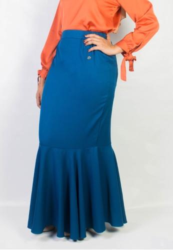 Zaryluq blue Fishtale Skirt in Blue Latte C5A37AA25E6EE4GS_1
