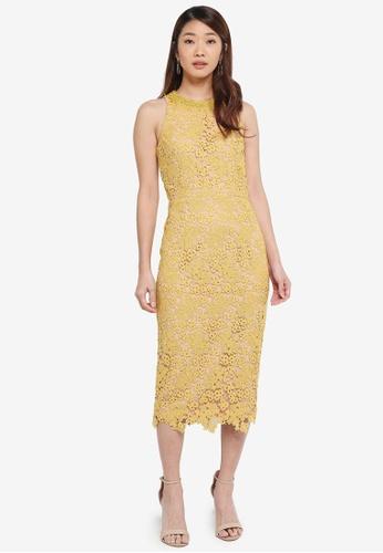 Little Mistress yellow Midi Lace Dress With Trim Detail 2F76BAAF90CCB2GS_1