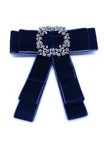 BELLE LIZ blue Ladies Simple Trendy Bow Brooch Blue E4F30ACBC2E3ABGS_1