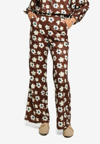 Lubna white and brown Printed Wide Leg Pants A60A0AA52DA320GS_1