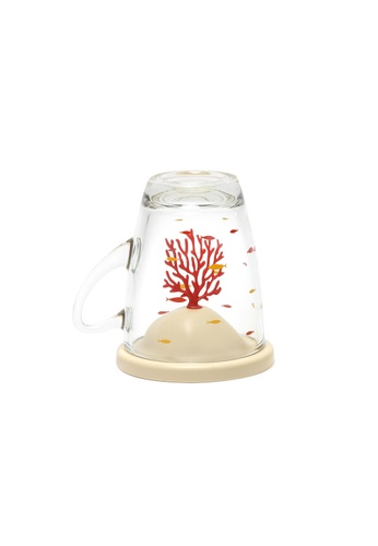Qualy Qualy Bleaching Coral Glass Mug and Lid/Holder (Coral Red) B40AFHL21537CCGS_1