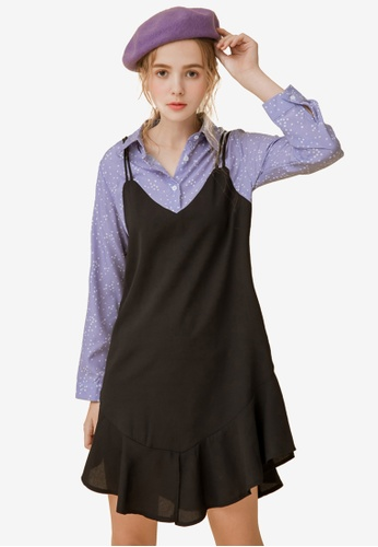 e5129f9afa3d Shop Eyescream Faux 2-Piece Slit Cami Dress Online on ZALORA Philippines