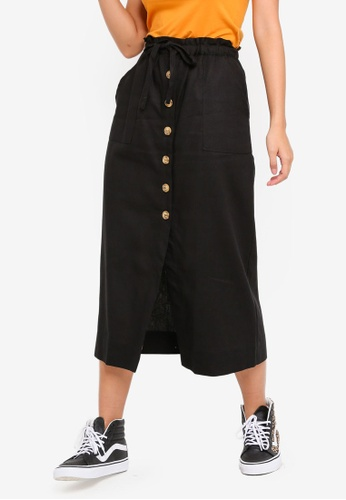 Cotton On black Woven Molly Button Through Midi Skirt 2773DAAFF854FCGS_1