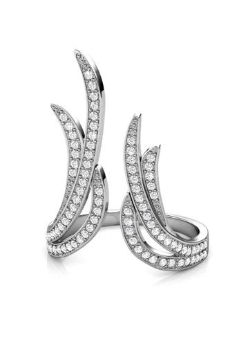 Her Jewellery silver Swarovski® Crystals - Frayel Ring (18K White Gold Plated) Her Jewellery HE581AC0RDOIMY_1