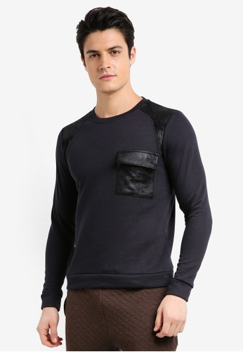 UniqTee black Jumper With Textured Pocket 71523AAD908C60GS_1