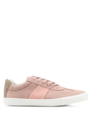 Topman pink Pink Faux Suede Retro Trainers EBF5FSH28DB9C1GS_1