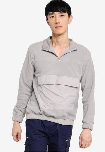 ZALORA BASICS grey Fleece Jumper with Pocket Detail 614F5AA057CF63GS_1