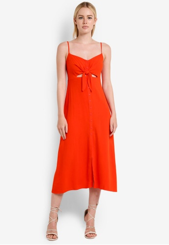 TOPSHOP red Knot Front Midi Slip Dress TO412AA80SCDMY_1