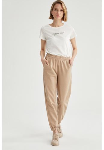 DeFacto beige Woman Knitted Short Sleeve T-Shirt FFEB7AA2386601GS_1