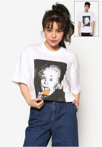 愛因斯esprit台北門市坦圖案T 恤, 服飾, 上衣