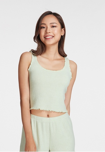 6IXTY8IGHT green LANA, Supersoft Ribbed Cami Top HW08638 74236AA2CB99C8GS_1