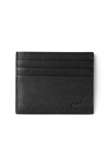 Crudo Leather Craft black Sen'zaltro Credit Card Holder -  Saffiano Black AEA48AC319D937GS_1