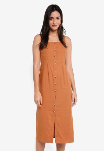 TOPSHOP brown Button Through Midi Slip Dress 9252DAA65EF83BGS_1