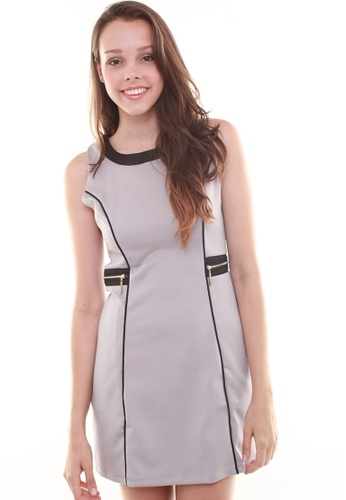 Leline Style grey Francesca Side Zipper Structured Dress LE802AA71FWMSG_1