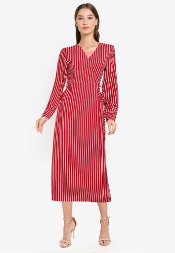 ZALORA WORK red Long Sleeve Wrap Midi Dress B78C7AAC03E1EFGS_1