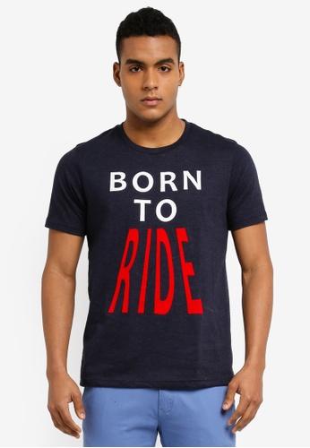 Marc & Giselle 藍色 短袖印花T恤 3A503AAD6A1CBDGS_1
