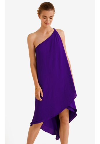 Mango purple Asymmetric Neckline Dress 5DD10AA4D3674AGS_1