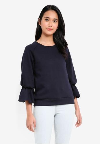 UniqTee navy Ruffled Sleeve Sweater C3EACAA9003C0AGS_1