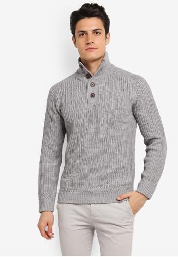 Burton Menswear London grey Grey Button Up Jumper BU964AA0SLF7MY_1