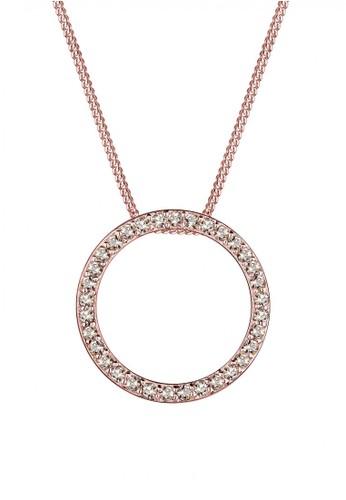 Elli Germany gold Perhiasan Wanita Perak Asli - Silver Kalung Circle Crystal Rosegold Plated 05F54ACBA9742FGS_1