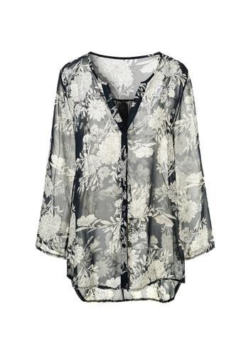 hk-ehunter black Floral V-Neck Long Sleeves Shirt Dress 8B1A5AAFEA92AAGS_1