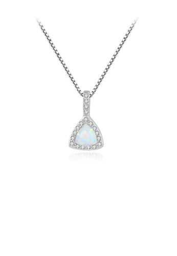 Glamorousky white 925 Sterling Silver Elegant Fashion Geometric Triangle White Imitation Opal Pendant with Cubic Zirconia and Necklace 993D4AC081FEACGS_1