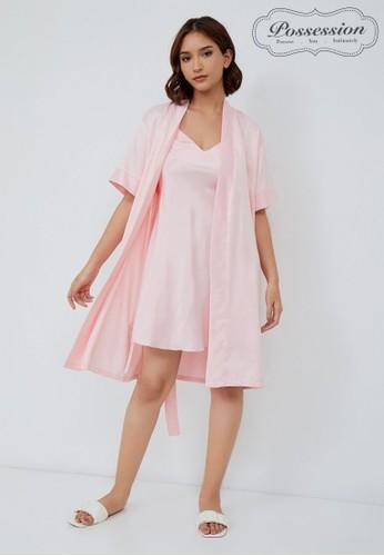 Possession pink Possession Kimono/Robe Satin & Slip (dalaman) 9087S PK 066CDAAB6D65FAGS_1