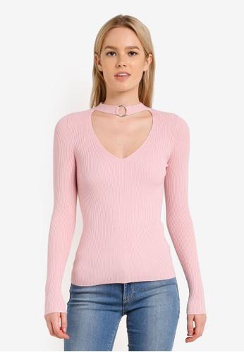 Miss Selfridge pink Pink Choker Neck Rib Jumper MI665AA0RN0DMY_1