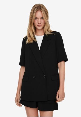 Vero Moda black Short Sleeved Blazer 8AA4EAABC29BE4GS_1