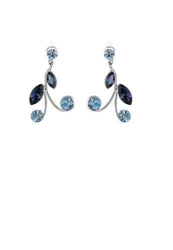 Glamorousky blue Blue Leaves Earrings with Blue Austrian Element Crystals 581DCAC113B814GS_1