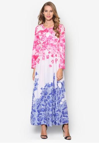 Puteresprit salon hki 配色印花長袖洋裝, 服飾, 洋裝