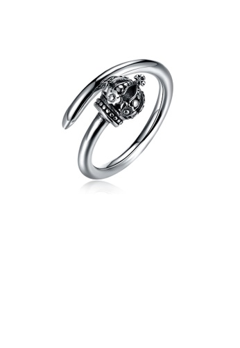 Glamorousky silver 925 Sterling Silver Vintage Elegant Fashion Crown Adjustable Opening Ring 45DDCACE95A37BGS_1