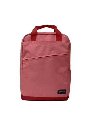 ideer pink Hayden Peach - Pink Two-tone Water-repellent Backpack ID960AC21OVMHK_1
