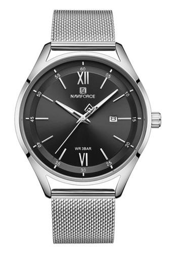 Naviforce black Naviforce - Jam Tangan Pria - Silver - Stainless Steel Bracelet - NF3013-F EFDC9AC359314FGS_1