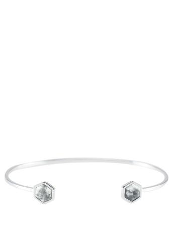 CLUSE 銀色 Idylle Marble Hexagons Open Cuff Bracelet 3CEC9AC2DA24B8GS_1
