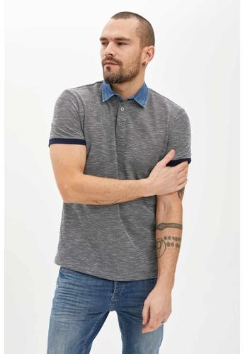 DeFacto 藍色 Short Sleeve Polo T-Shirt E2239AAE992634GS_1