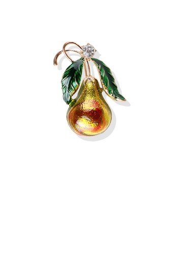 Glamorousky white Simple and Fashion Plated Gold Enamel Gourd Brooch B2B4BAC4DCE2E1GS_1