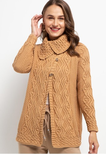 COME brown Overlap Knit Cardigan EB3BCAABA92C34GS_1