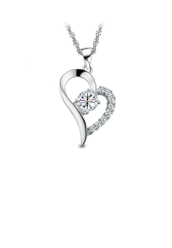 Glamorousky white Fashion 925 Sterling Silver Heart-shaped Pendant with White Cubic Zircon and Necklace 30CD2AC3B46149GS_1