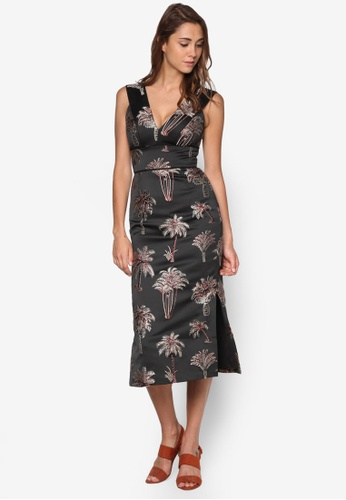 WAREHOUSE black Palm Jacquard Midi Dress WA653AA55VPSMY_1