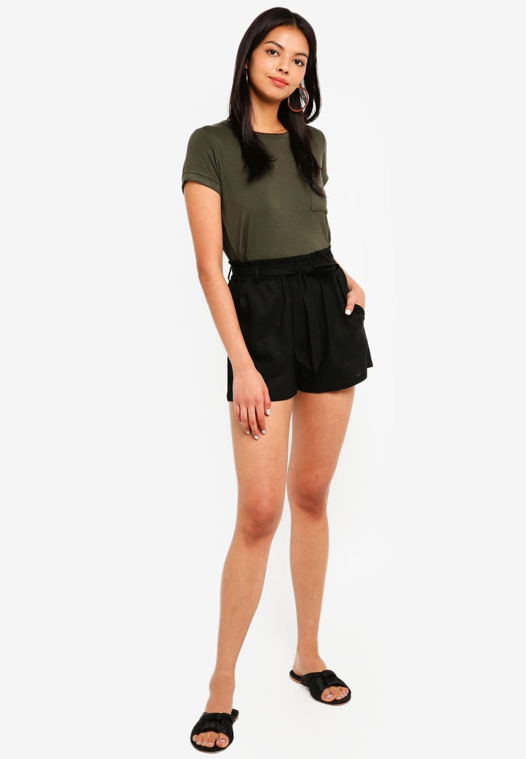Black Waist Solid Shorts High On Cotton Belted SF7nq1UA