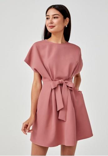 Love, Bonito pink Ariadna Tie Front Shift Dress B67E3AABD4DF38GS_1